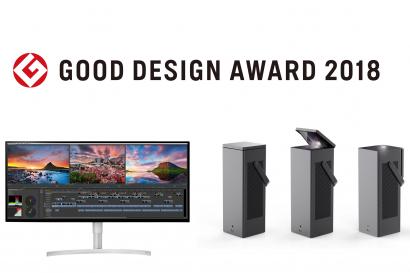 일본디자인진흥회가 발표한 '굿디자인상 어워드 2018(Good Design Award 2018)'에서 'Best 100'에 선정된 'LG 울트라와이드 모니터'와 'LG 시네빔 레이저 4K'