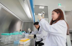 LG전자 식품과학연구소 연구원이 김치 맛을 좌우하는 유산균의 양을 측정하고 있다.