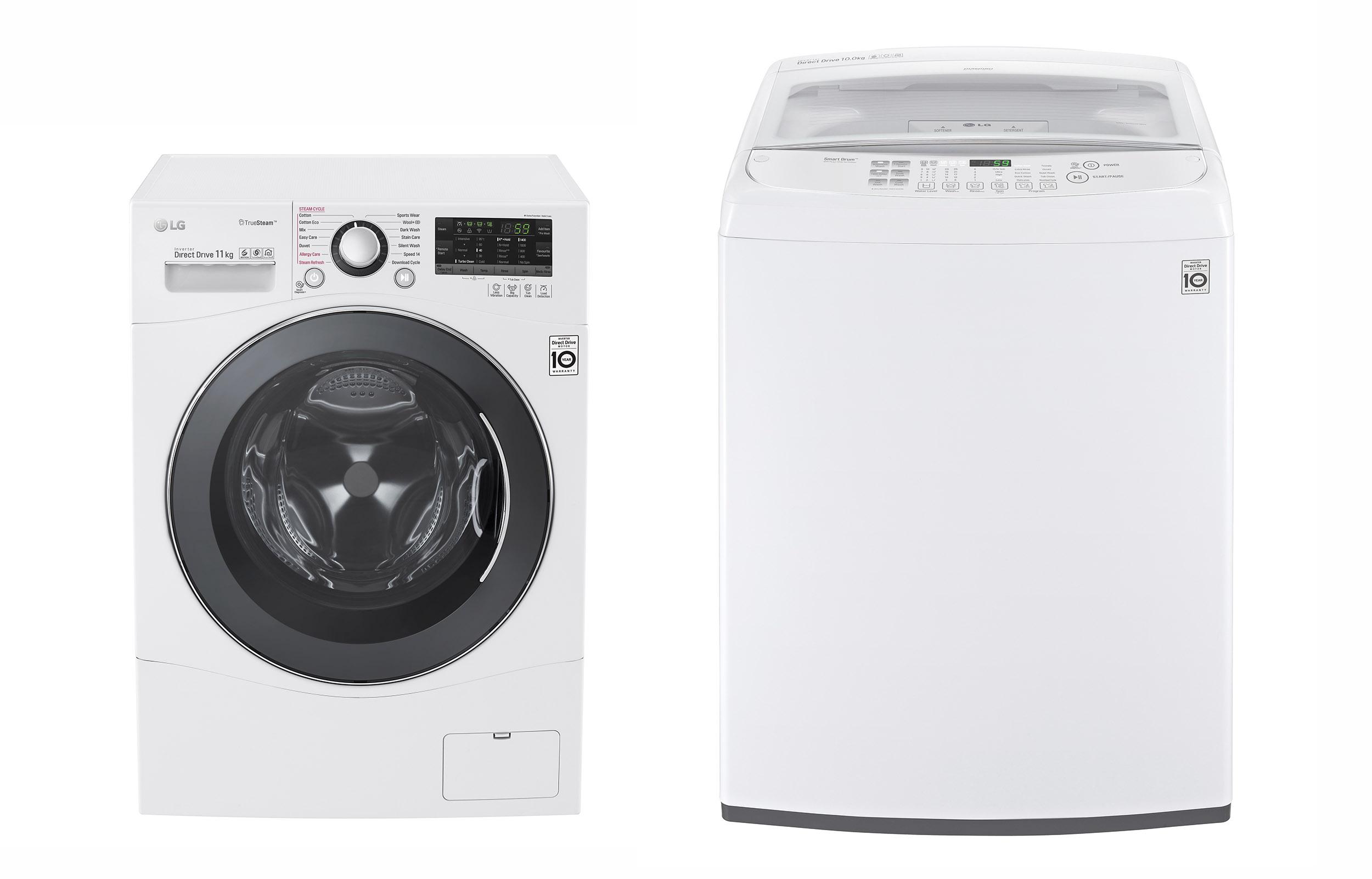 최근 호주 유력 월간 소비자 잡지 '초이스(Choice)'로부터 최고점을 부여 받은 LG전자 드럼세탁기(모델명:WD1411SBW)와 통돌이세탁기(모델명: WTG1032WF)