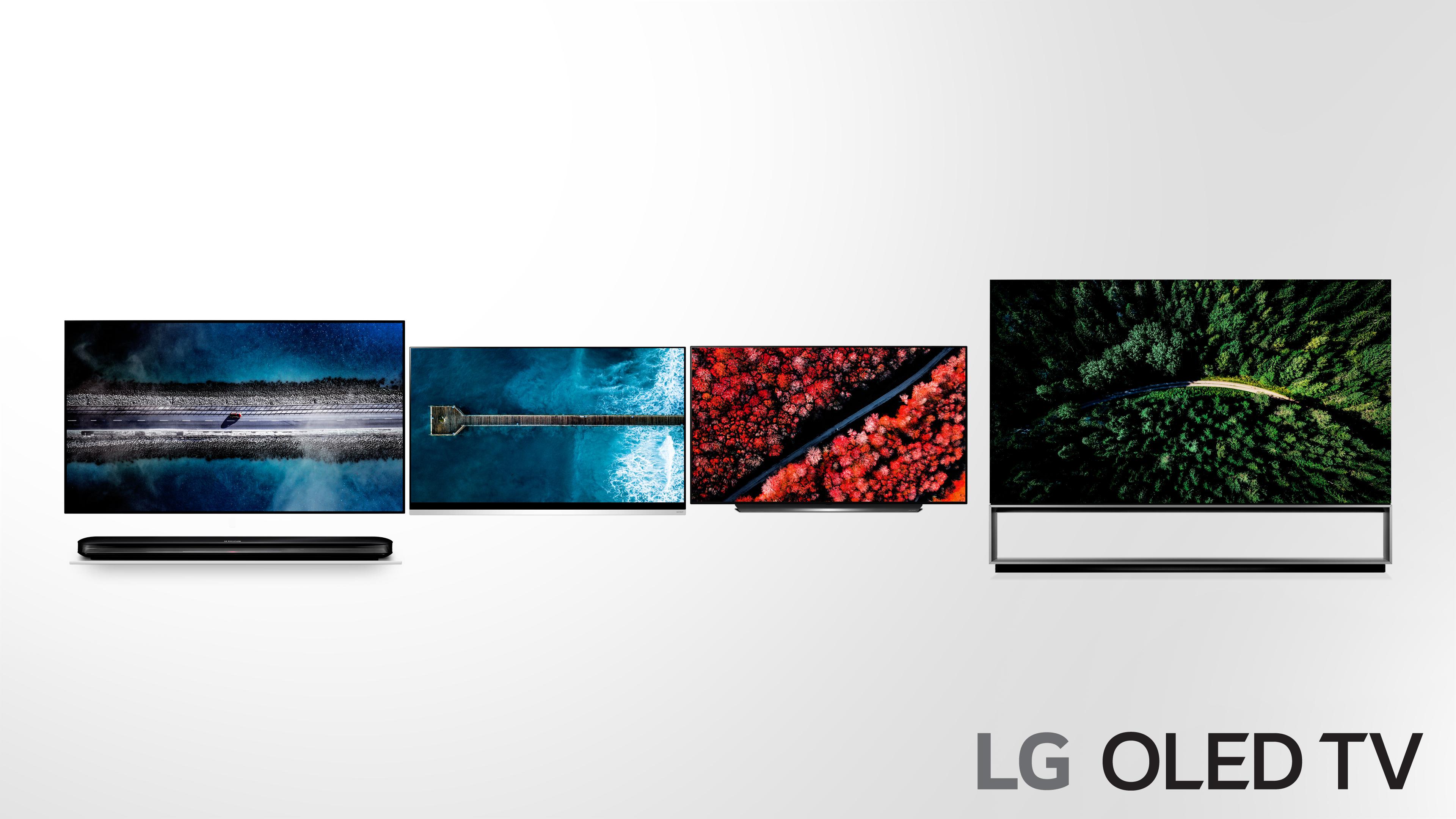 LG 올레드 TV 신제품 주요 모델(왼쪽부터 W9, E9, C9, Z9시리즈 순임)