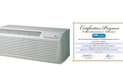 美 냉동공조협회로부터 퍼포먼스 어워드를 수상한 LG전자 실외기/실내기 일체형 에어컨 '피택'