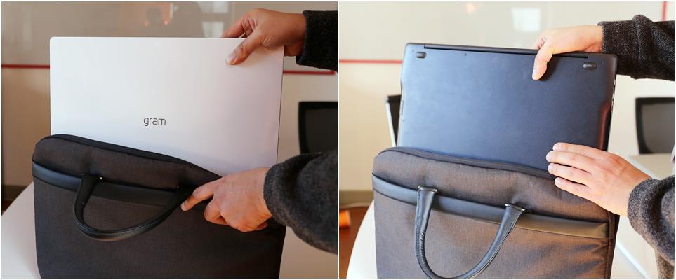 15인치 노트북 가방에도 문제 없이 들어가는 'LG 그램 17'(왼쪽), 타사 15인치 노트북을 같은 노트북 가방에 넣는 장면(오른쪽)
