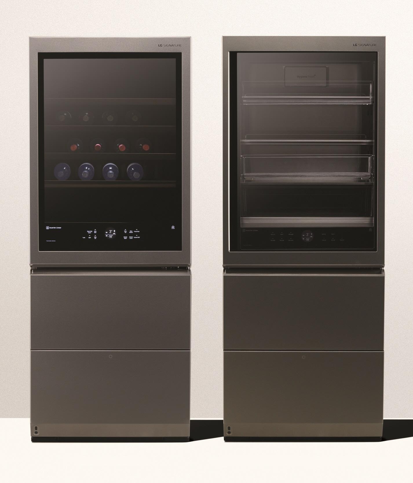 세계 3대 디자인상인 '레드닷 디자인 어워드(Red Dot Design Award)'에서 최고상(Best of the Best)을 받은 LG 시그니처 상냉장 하냉동 냉장고 디자인