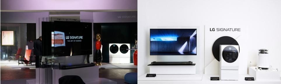독일 LG 시그니처 아트위크(왼쪽)와 밀라노 디자인 위크(오른쪽)에 전시된 LG 시그니처 제품
