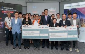 LG전자와 인피니언이 17일 싱가포르 인피니언 아태지역 본사에서 webOS를 활용한 IoT 서비스를 개발하기 위한 해커톤을 개최했다. 홍수 모니터링 시스템으로 1위를 차지한 말레이시아 스타트업 '플러드센스드(Floodsensed)' , 시각장애인용 장애물 식별 모듈로 2위를 차지한 말레이시아 스타트업 '바와(BAWA)', LG전자 싱가폴법인장 여인관 상무(앞줄 맨왼쪽), LG전자 SW사업화PMO 최희원 상무(앞줄 왼쪽에서 두번째), 인피니언 씨에스 추아 아태지역 사장(앞줄 왼쪽에서 네번째)이 기념촬영을 하고 있다.