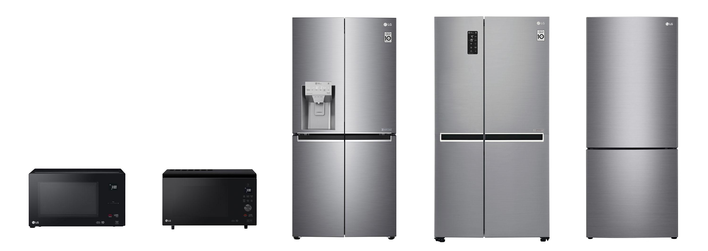 LG전자 주방가전이 호주 유력 소비자잡지 초이스의 소비자평가 1위를 휩쓸었다. 사진은 왼쪽부터 전자레인지, 슬림 광파오븐, 프렌치도어 냉장고, 양문형 냉장고, 상냉장ㆍ하냉동 냉장고