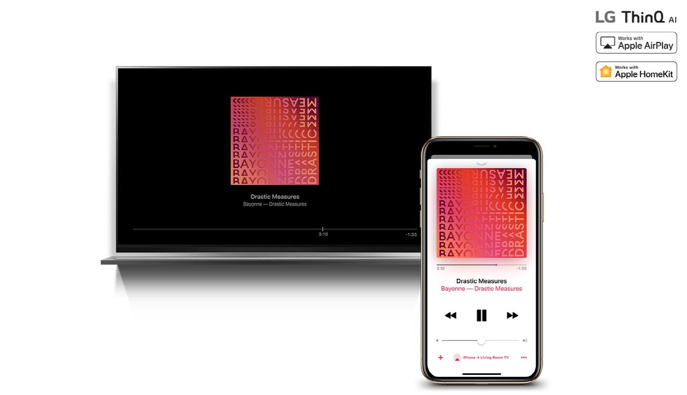 LG 인공지능 TV와 애플의 '에어플레이 2', '홈킷' 서비스와 연동한 연출 이미지