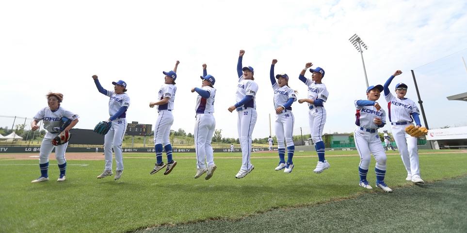 한국팀 선수들의 응원 모습