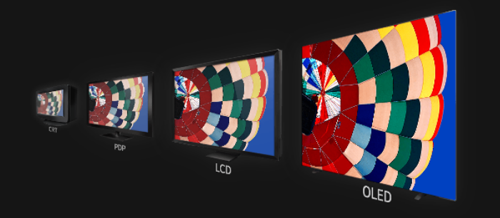 CRT TV, PDP TV, LCD TV, OLED TV로 진화한 TV 패널 비교 모습