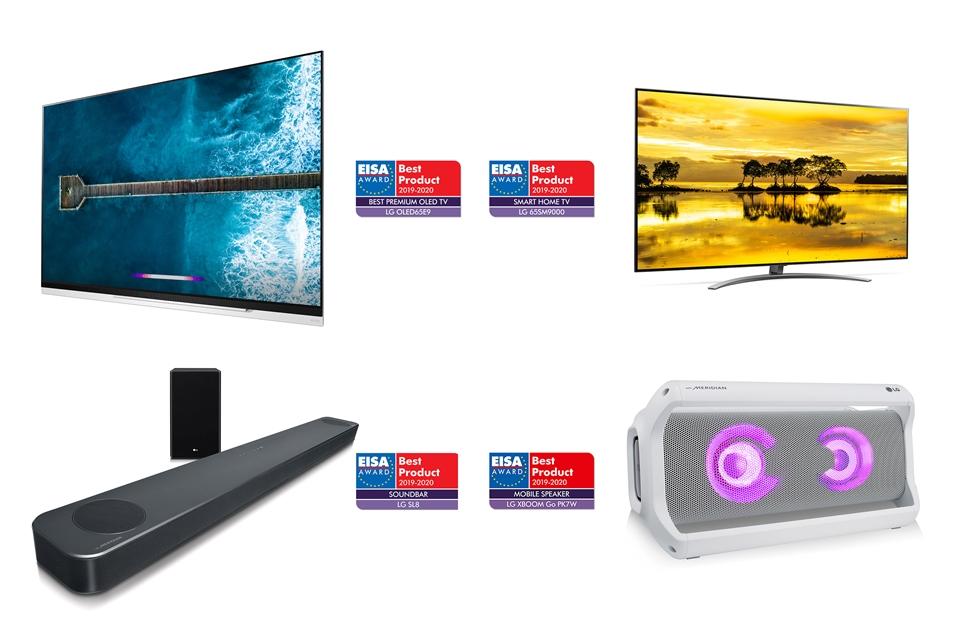 왼쪽 상단부터 시계 방향으로 'LG 올레드 TV AI ThinQ', 'LG 나노셀 TV AI ThinQ', , 'LG 엑스붐 고(XBOOM Go)', 'LG 사운드 바'