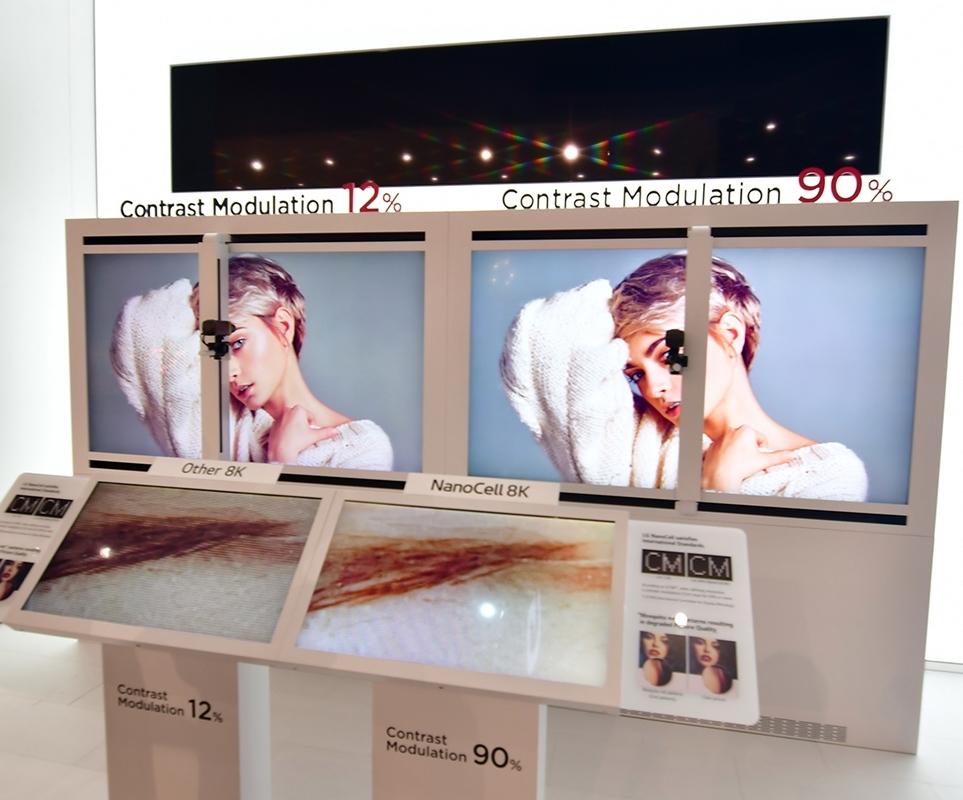 8K 해상도와 나노셀 기술을 적용한 75인치 슈퍼울트라 HD TV와 타사의 8K TV 화질선명도(CM; Contrast Modulation) 비교