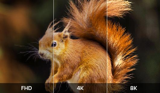 FHD, 4K, 8K 화질 비교