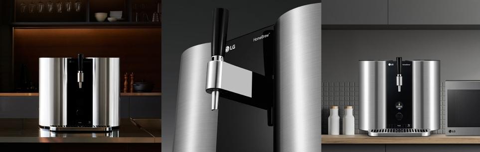 원통 모양의 스테인리스 통을 반영한 LG 홈브루 외관 디자인