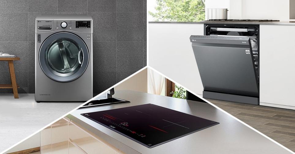 세탁기, 식기세척기, 전기레인지 이미지