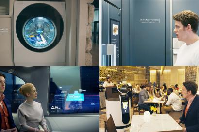 LG전자가 내달 초 美 라스베이거스에서 열리는 세계 최대 IT전시회 'CES 2020'에서 「LG 씽큐(ThinQ) 존」을 대규모로 꾸미고 인공지능 기반의 혁신으로 한층 편리해지는 라이프스타일을 선보인다. 사진은 인공지능 LG 씽큐가 일상을 변화시키는 모습 (왼쪽 위부터 시계방향으로) 의류의 오염상태를 파악해 자동으로 세탁코스를 설정해주는 트롬 세탁기, 식재료를 감지해 적절한 요리 레시피를 추천해주는 디오스 냉장고, 자동차 창문을 통해 목적지 등 필요한 정보를 확인할 수 있는 미래차, 레스토랑에서 음식을 주문할 수 있는 클로이 로봇