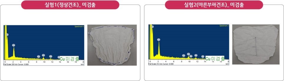 LG전자 의류건조기 녹청 입자 유입 실험 결과 이미지
