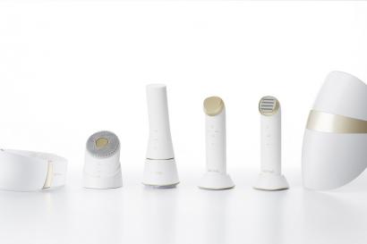 LG 프라엘 6종 제품 이미지. 왼쪽부터 더마 LED 넥케어, 초음파 클렌저, 듀얼 브러시 클렌저, 갈바닉 이온 부스터, 토탈 타이트 업 케어, 더마 LED 마스크.