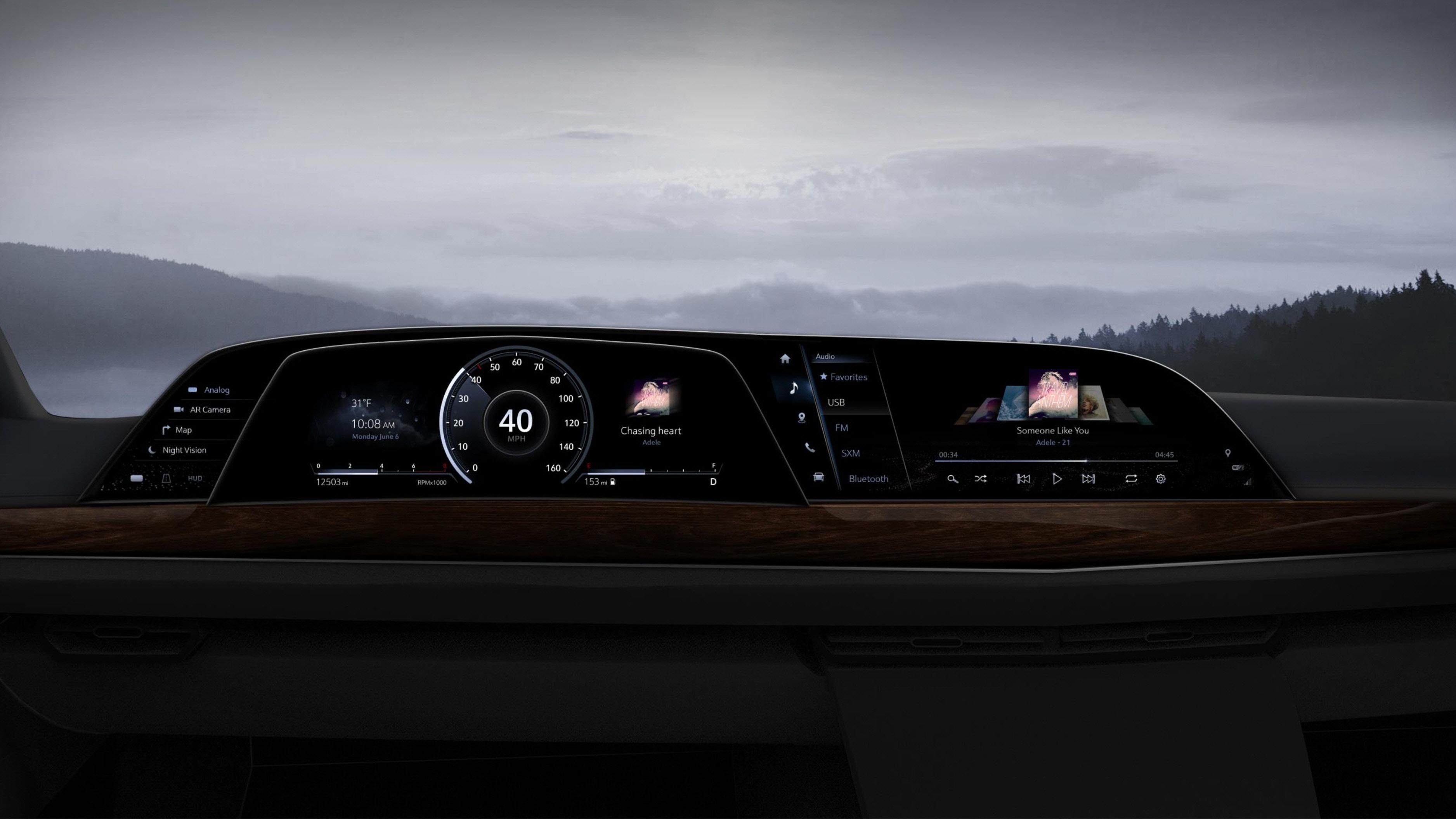 LG전자가 공급한 P-OLED 기반 디지털 콕핏을 차량에 적용한 이미지 예시