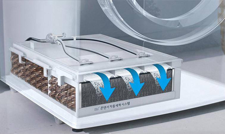 LG 트롬 건조기에 탑재된 '콘덴서 자동세척' 기능 설명 이미지