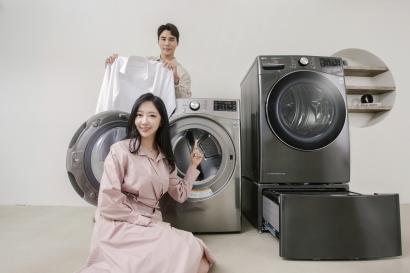 LG전자가 5일 트롬 건조기 스팀 씽큐(STEAM ThinQ)의 본격적인 판매를 시작했다.