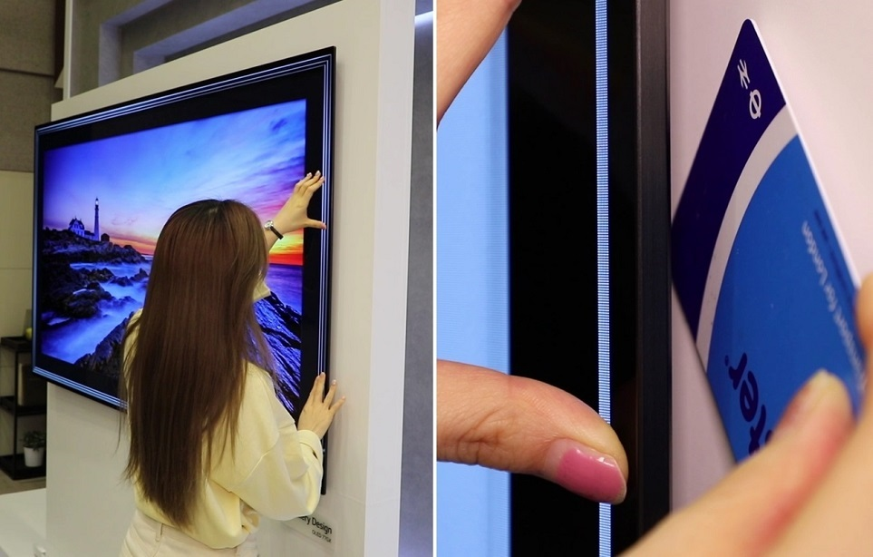 갤러리 디자인 올레드 TV 벽밀착 정도를 보여주는 모습