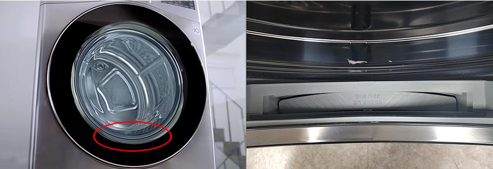 (왼)건조기 하단에 있는 필터, (오)필터를 제거하였을 때를 위에서 찍은 안심셔터 모습