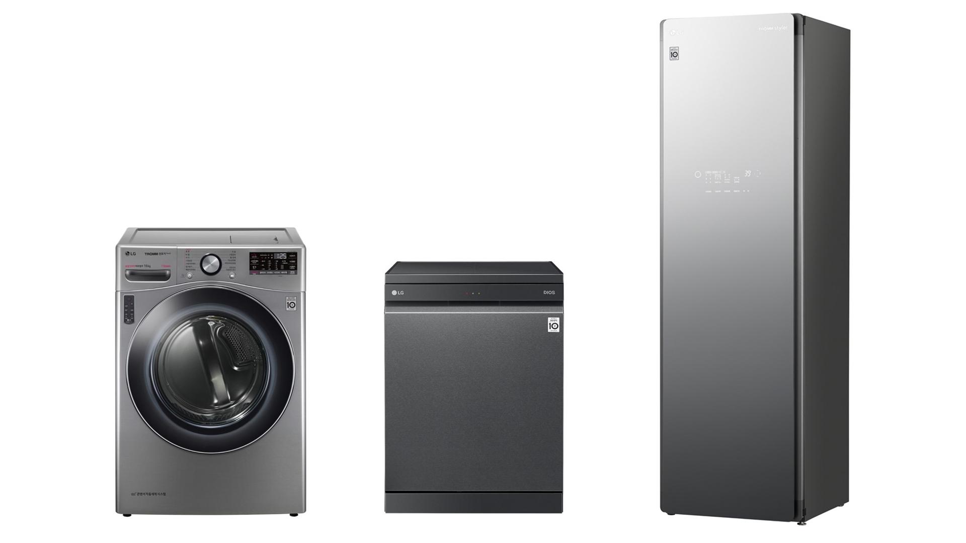 LG전자 대용량 스팀가전 가운데 건조기, 식기세척기, 스타일러의 제품 사진