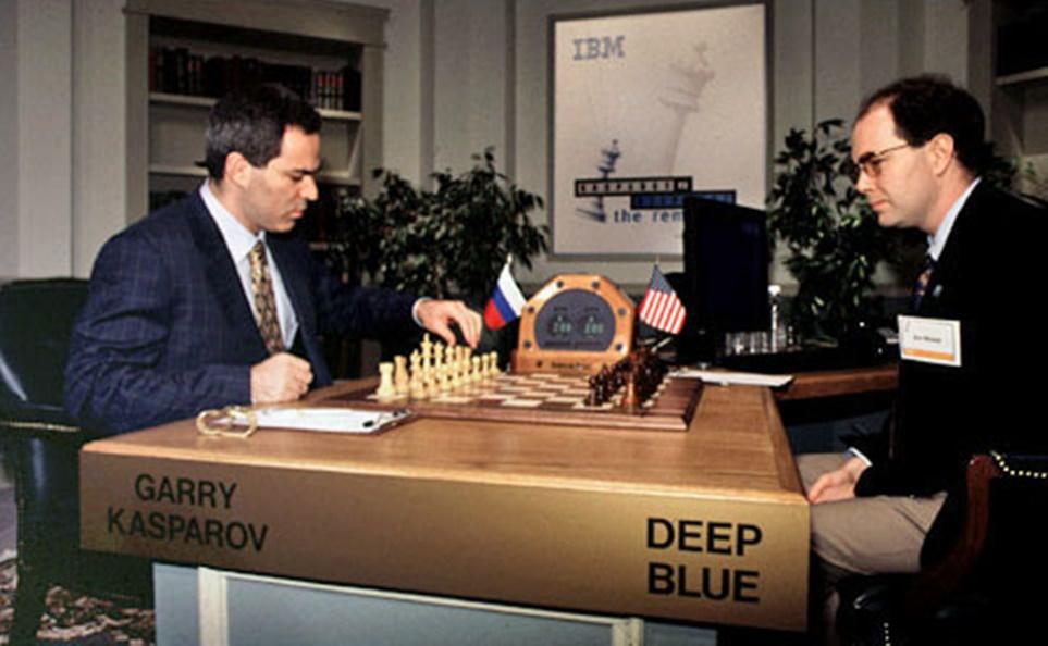 1997년 IBM 딥블루 VS 개리 카스파로프 체스 게임하는 모습