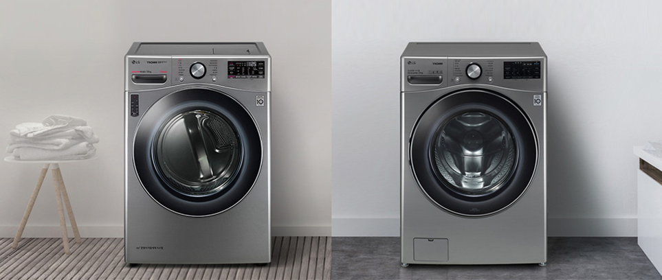LG 트롬 건조기 스팀 씽큐(왼쪽), LG 트롬 세탁기 씽큐(오른쪽)
