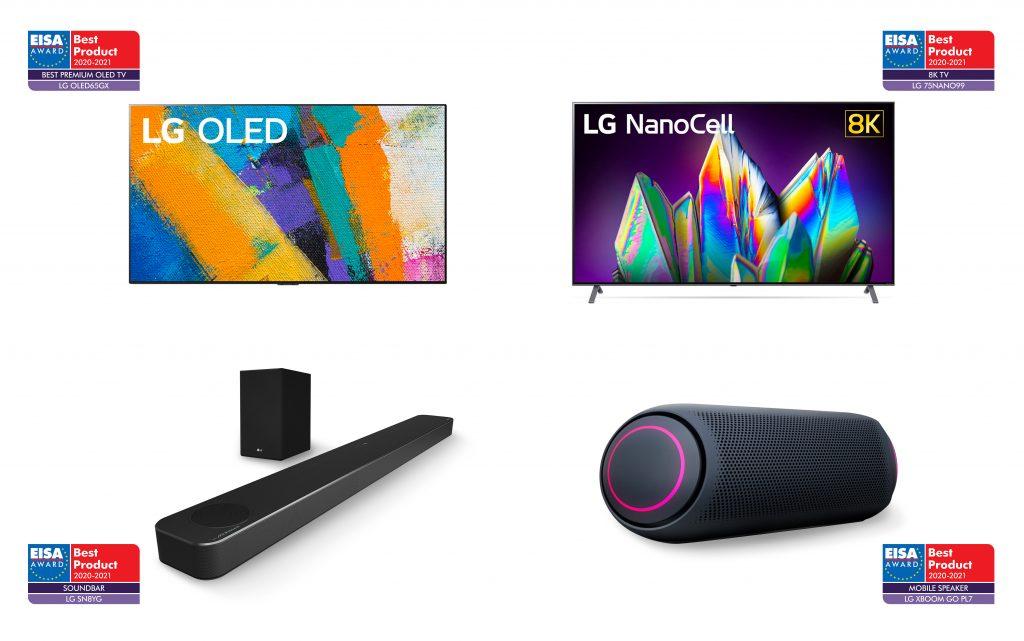 EISA 어워드를 수상한 제품 사진. 왼쪽 상단부터 시계방향으로 LG 올레드 갤러리 TV, LG 나노셀 8K TV, LG 엑스붐 고 스피커, LG 사운드 바.
