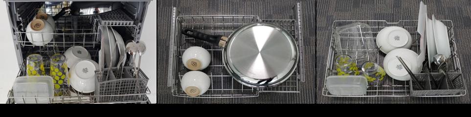 6인용 식기세척기에 2인분 양의 식기를 수납한 모습