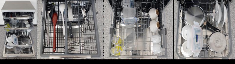 12인용 식기세척기에 2인분 양의 식기를 수납한 모습