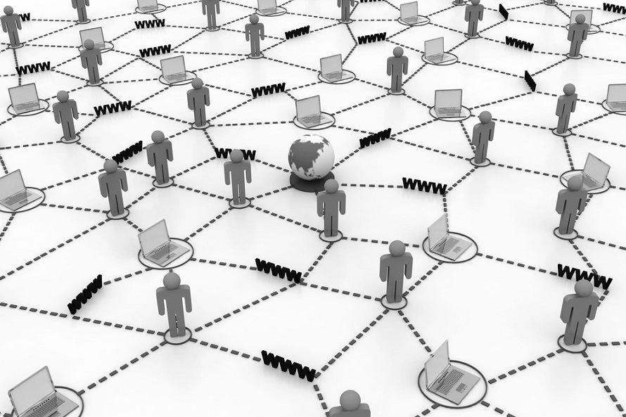world wide web으로 연결되는 수많은 사람들을 표현한 일러스트 이미지