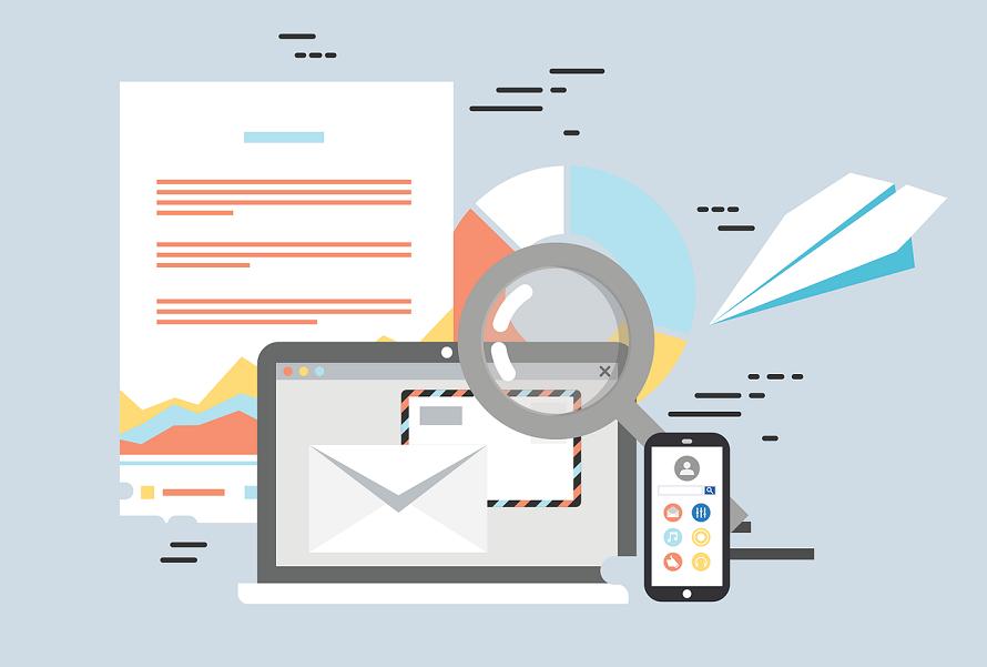 수많은 정보를 나타내는 문서, 노트북, 모바일 디바이스 등 일러스트 이미지
