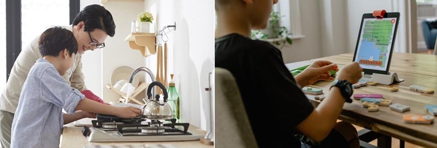 설거지하는 부자 지간 사진과 식탁에서 공부중인 남자아이의 사진