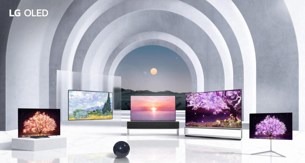 LG전자의 신형 OLED TV 제품군이 나열되어있는 모습