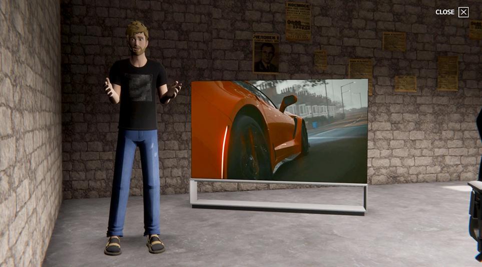 주행 중인 차량이 나오는 LG 올레드 TV 옆에 가상현실 캐릭터가 서있는 모습