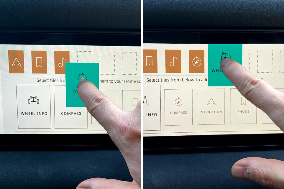 랜드로버 디펜더 차량의 AVN 스크린의 홈 화면에 넣을 앱을 터치로 간편하게 선택하는 모습