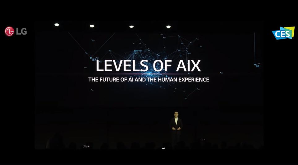 CES 2020에서 AI의 발전 방향성을 발표하는 LG전자 CTO