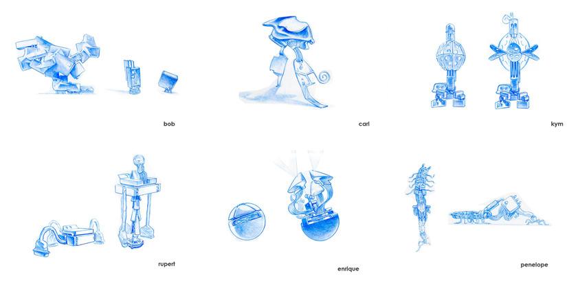 로봇 캐릭터들의 스케치