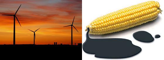 풍력 발전과 옥수수 이미지