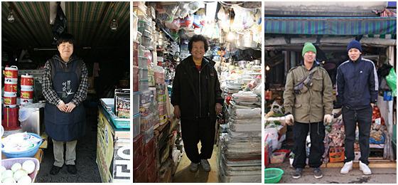 시장 상인들 사진