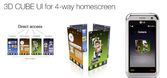 3D CUBE UI for 4-way homescreen