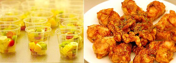 간식과 닭봉 조림 사진