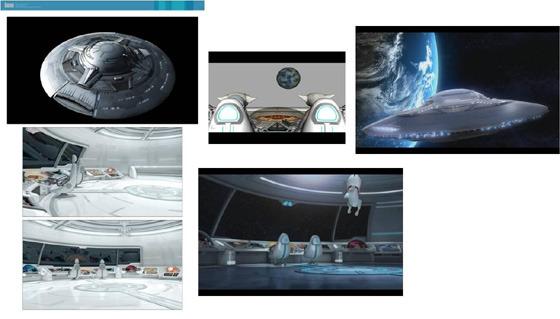 우주선과 우주 공간 사진