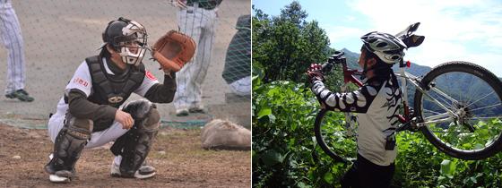 야구와 자전거 타는 모습
