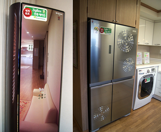 LG전자의 냉장고와 세탁기 제품 사진