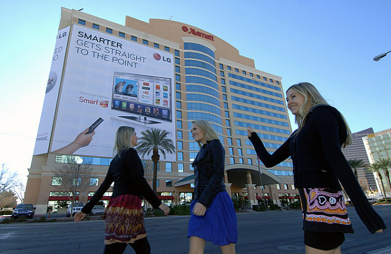 라스베이거스 컨벤션센터 앞 메리엇호텔 LG 랩핑광고 사진