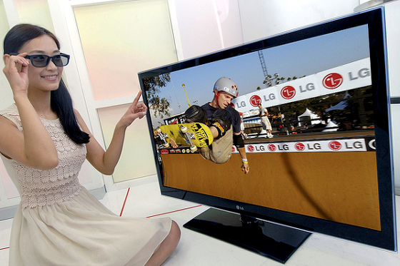 3D TV 2D 모드 관람 모습