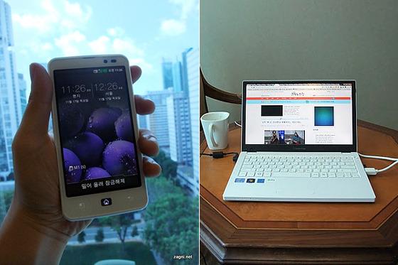 옵티머스 LTE 화이트와 엑스노트 P220 제품 사진